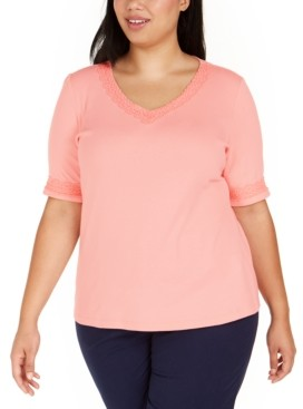Karen Scott Plus Size Lace-Trim V-Neck Cotton Top, Created for Macy's