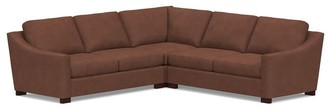 Pottery Barn Turner Slope Arm Leather 3-Piece L-Sectional