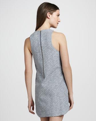 Ali Ro Sleeveless Tweed Dress with Embellished Neckline