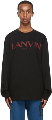 Lanvin Black Printed Logo Long Sleeve T-Shirt