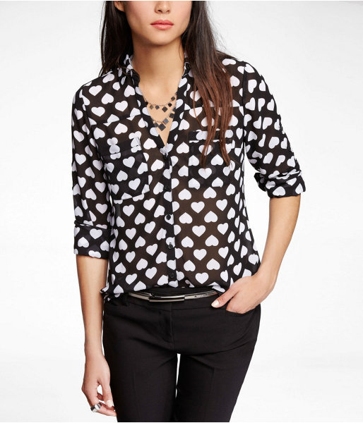 Express Flipped Heart Convertible Sleeve Portofino Shirt