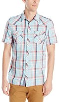 Buffalo David Bitton Men's Sandwich Short Sleeve Plaid Button Down Shirt