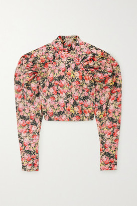 Rotate by Birger Christensen Kim Cropped Floral-print Woven Top