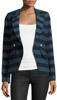 Smythe Crossover Striped Blazer, Blue