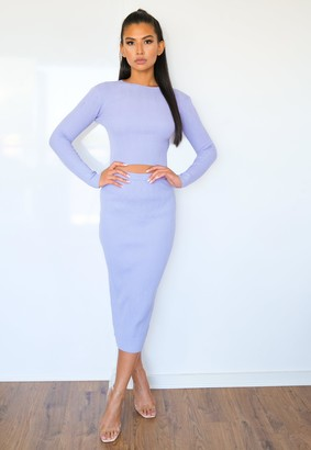 Missguided Lilac Co Ord Textured Knitted Midaxi Skirt