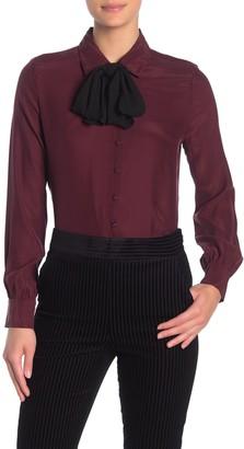 Frame Long Sleeve Silk Necktie Blouse