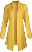 Lily Women's Open Cardigans YLW - Yellow Pointed-Hem Open Cardigan - Women & Plus
