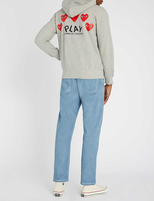 Comme des Garcons Logo-embroidered cotton-jersey hoody