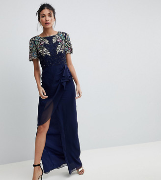 Virgos Lounge Tall Ariann Embellished Maxi Dress With Frill Wrap Skirt-Navy