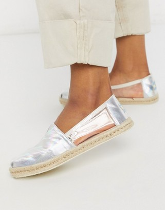 Toms alpargata espadrilles in silver with clear