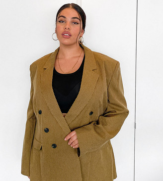 Collusion Plus exclusive double-breasted blazer in tan pinstripe