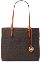 MICHAEL Michael Kors Bedford Large Logo Pocket Tote Bag, Brown/Orange
