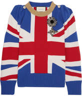 Gucci Union Jack Embellished Wool Sweater - Blue