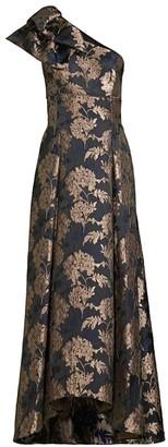 Aidan Mattox Jacquard Floral One-Shoulder Gown