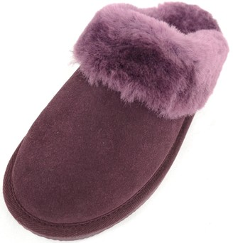 Snugrugs Ladies Luxury Sheepskin Mule Slipper with Sheepskin Cuff and Light Weight Flexible Sole - Plum - UK 5