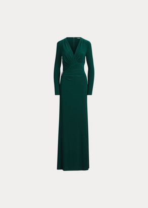 Ralph Lauren Pleated Wrap-Style Gown