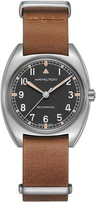 Hamilton Khaki Aviator Pilot Pioneer Leather Strap Watch, 36mm x 33mm