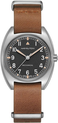 Hamilton Khaki Aviator Pilot Pioneer Leather Strap Watch, 36mm x 33mm