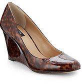 Saks Fifth Avenue BLACK Astor Leopard-Print Patent Leather Wedges