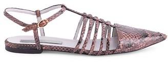 Stella McCartney Python-Embossed Cage Ballet Flats