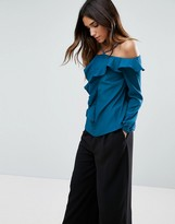Girls On Film Cold Shoulder Ruffle Top