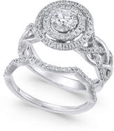 Macy's Diamond Braided Double Halo Bridal Set (1 ct. t.w.) in 14k White Gold