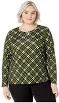MICHAEL Michael Kors Plus Size Long Sleeve Bias Plaid Tee (Evergreen) Women's Clothing