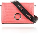 Alexander Wang Croc Embossed Riot Convertible Clutch In Fluo Coral With Rhodium