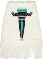 MSGM Embroidered cotton-blend bouclé-tweed mini skirt