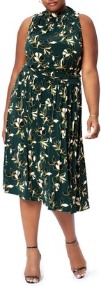 Leota Aria Floral Sleeveless Mock Neck Midi Dress
