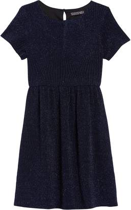 Trixxi Glitter Knit Cap Sleeve Dress