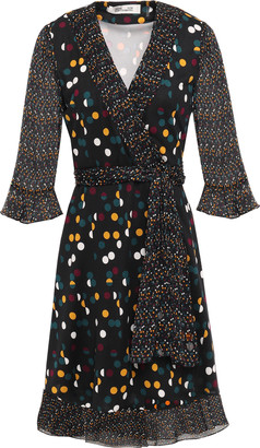 Diane von Furstenberg Georgette-paneled Ruffle-trimmed Polka-dot Silk-jersey Wrap Dress