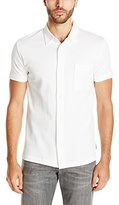 French Connection Men's Central Crepe Short Sleeve Button Down Polo Shirt