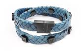 Tissuville Royal Blue Leather Wrap Tarmac Bracelet With Black Studs