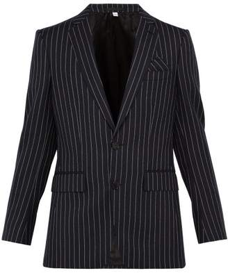 Burberry Pinstriped Single Breasted Wool Blazer - Mens - Navy Multi