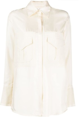 Victoria Victoria Beckham Silk Chest Pocket Shirt