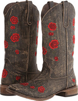 Roper Brush Off Flower Embroidered Square Toe Boot