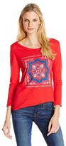 Lucky Brand Women's Placed Medallion Tee