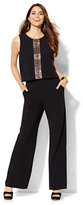 New York & Co. Open-Stitch Panel Jumpsuit - Black