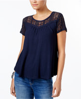 Style&Co. Style & Co Textured Lace-Yoke Top, Created for Macy's