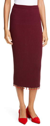 STAUD Costa Knit Midi Pencil Skirt
