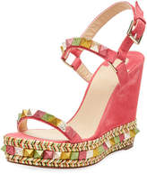 Christian Louboutin Pyraclou Spike Wedge Red Sole Sandal