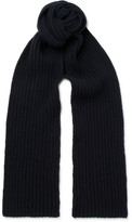 A.P.C. Ribbed Wool And Cashmere-blend Scarf - Navy