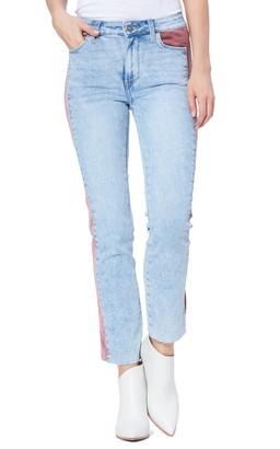 Paige Cindy High Waist Velvet Inset Skinny Jeans