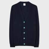 Paul Smith Women's Navy Merino Wool Cardigan With Flower Buttons