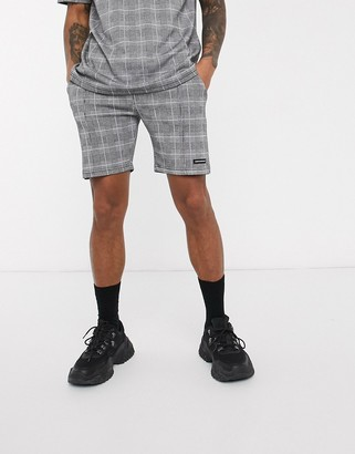 Good For Nothing check shorts with toggle in grey