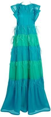 Alberta Ferretti Ruffle Silk Chiffon Gown