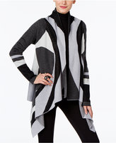 INC International Concepts Colorblocked Handkerchief-Hem Cardigan, Only at Macy's