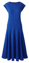 Classic Women's Ponté Flounce Skirt Dress-Black Stripe