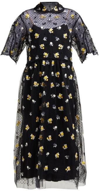 Biyan Anita Floral-embroidered Tulle Dress - Black Yellow